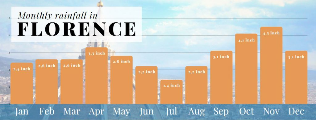 Infographic - Monthly rainfall in Florence