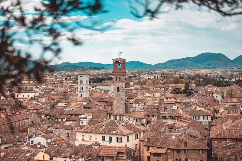 Overview of Lucca in Tuscany, Italy